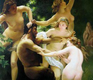 Nimfa and satir  by William Adolphe Bouguereau
